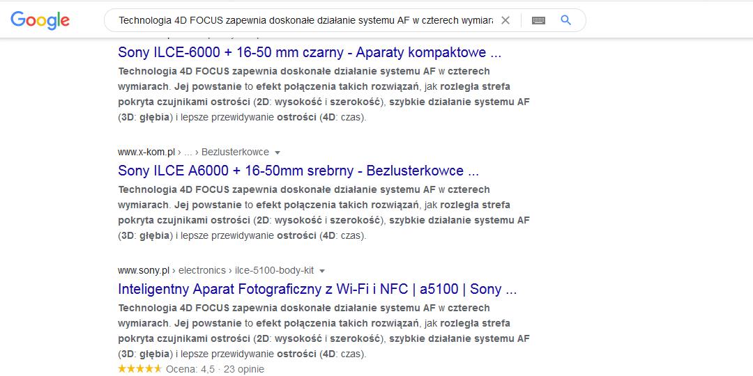 Duplicate content w wynikach wyszukiwania